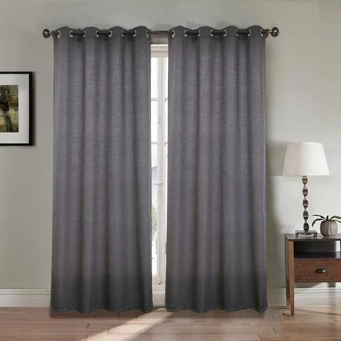 paire double rideaux 140x260 cm gris effet lin