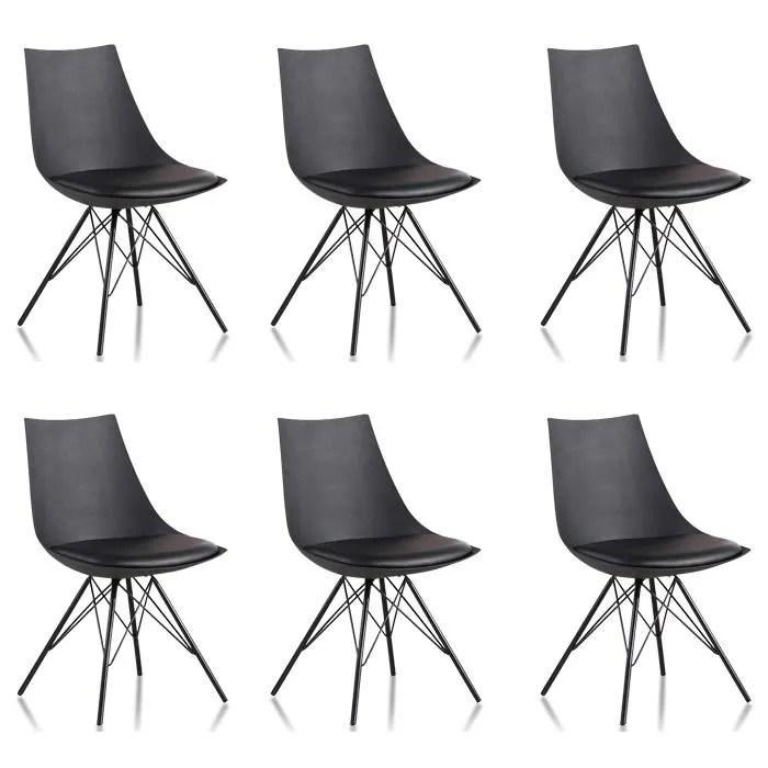 lot de 6 chaises noires eif designetsamaison