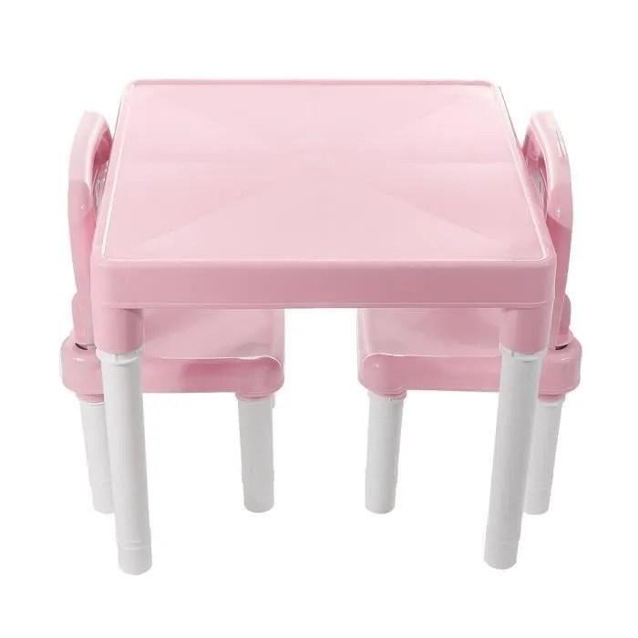 ensemble table et 2 chaises plastique enfant rose