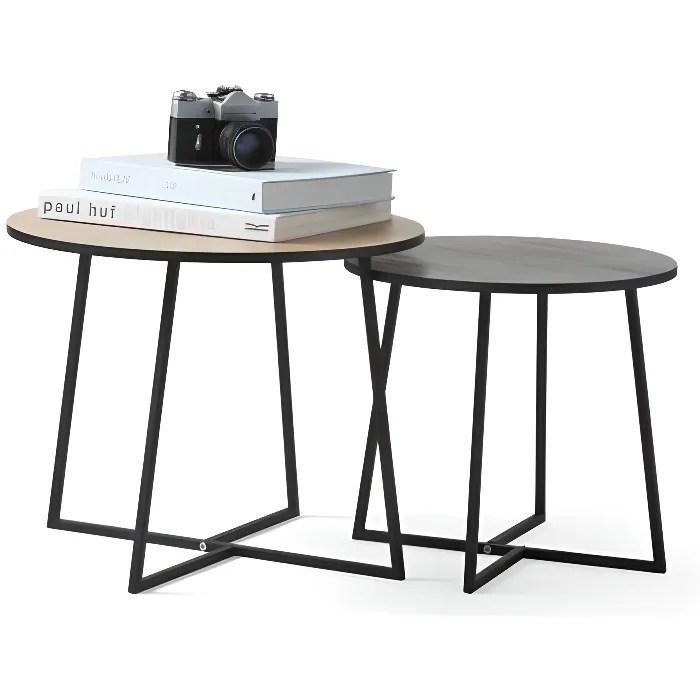 lifa living 2 tables basses ronde bois