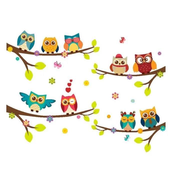 stickers muraux hibou owl arbre cartoon animaux stickers autocollant mural chouette colorees pour decoration