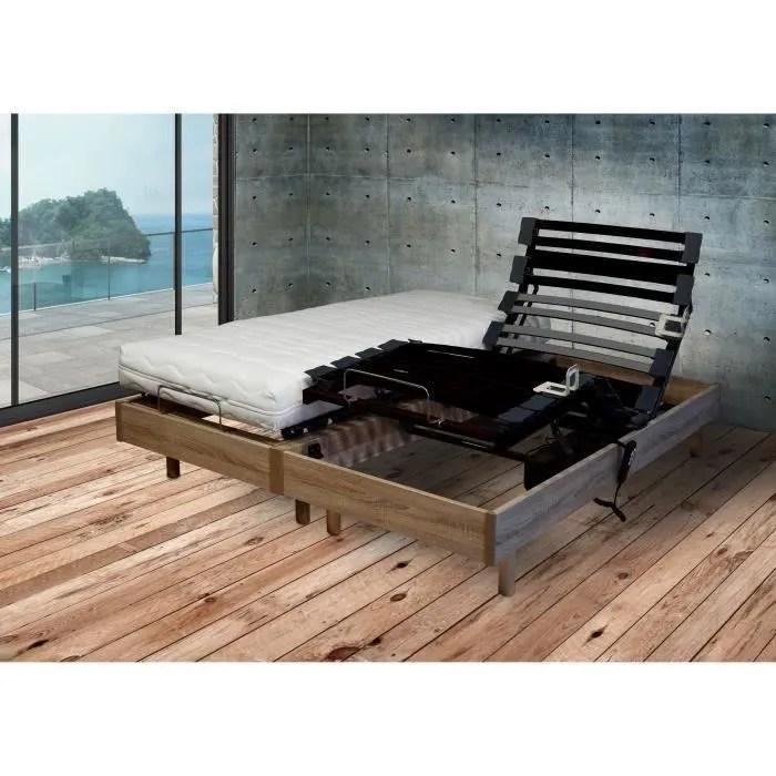 ensemble matelas et lit relaxation electrique 2x80x200