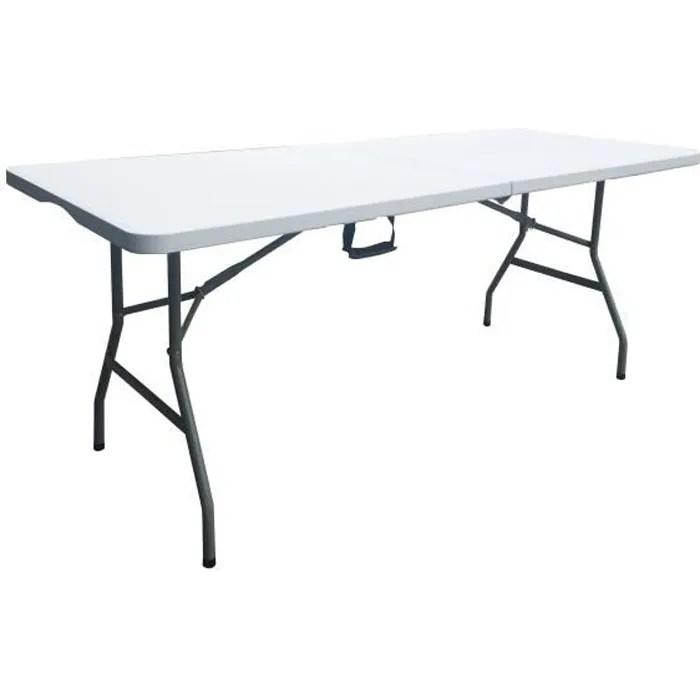 table de reception traiteur pliante 8 personnes 180x74 xh 73 5 cm structure en acier et plateau en polyethylene pehd blanc