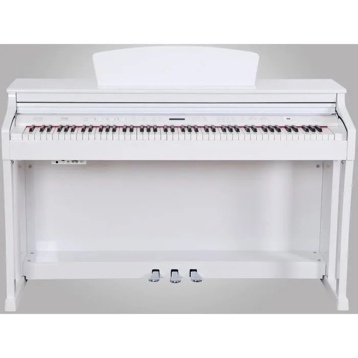 piano droit blanc