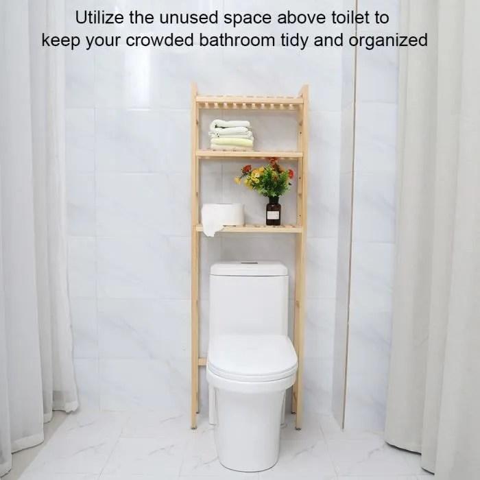 3 niveaux etagere de toilette tablette de rangement en bois de salle de bain compact 20 50 154 cm