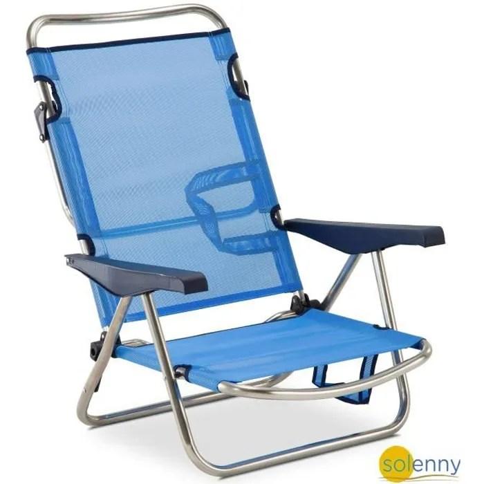 chaise plage lit positions en aluminium et textilene patte du dossier pliable solenny