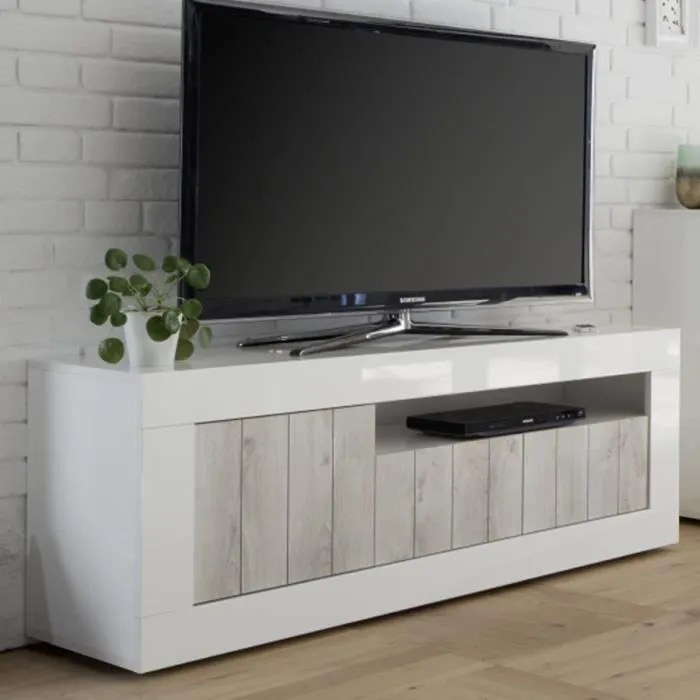 meuble tele moderne couleur pin et blanc laque ser