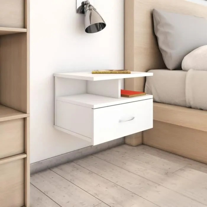 tables de chevet mural avec 1 tiroir et etagere 40 x 31 x 27 cm style contemporain blanc