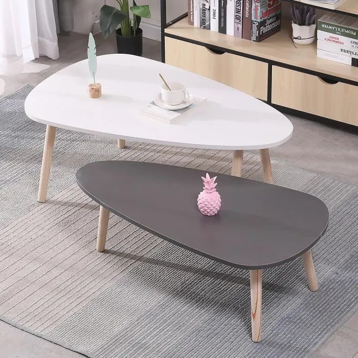 table basse ovale 2pcs scandinave blanc et gris laque