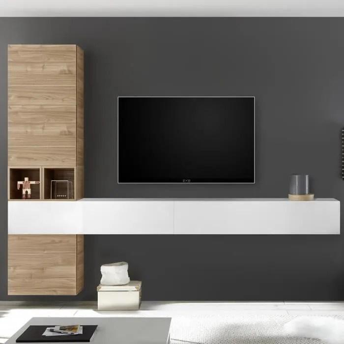 composition murale tv couleur chene et blanc laque