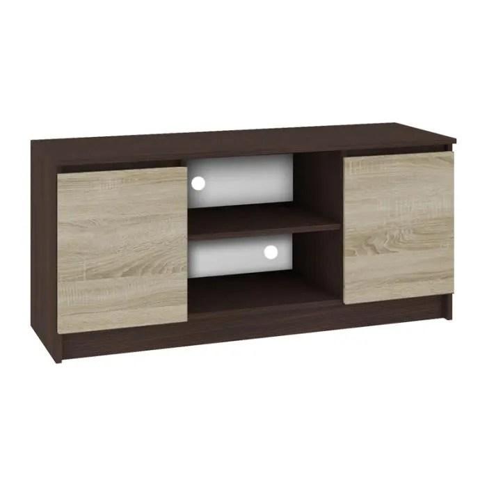 dusk meuble bas tv contemporain salon sejour 120x55x40 cm 2 niches 2 portes rangement materiel audio video gaming wenge so