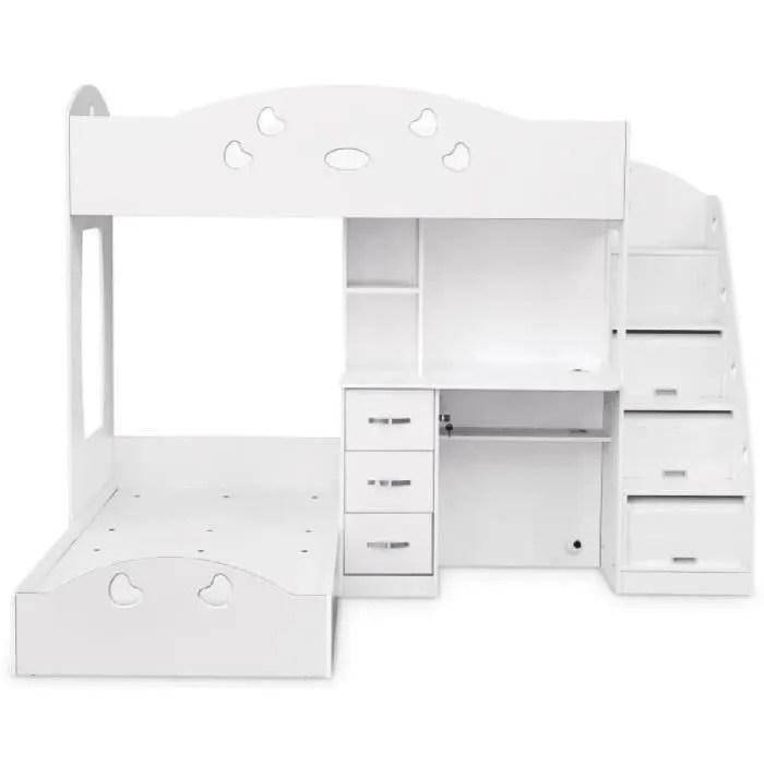 lit combine combi lit bureau blanc