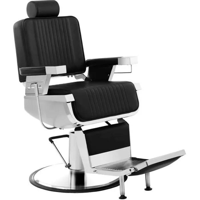 fauteuil salon de coiffure physa luxuria black hauteur reglable dossier et appui de tete adaptables 160x77x130cm