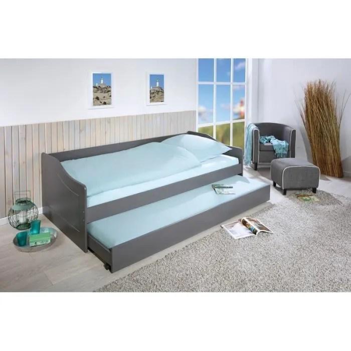 chambre lits rangements lit banquette simple malte avec tiroir lit l 208 x l 97 x h 62 cm gris blanc