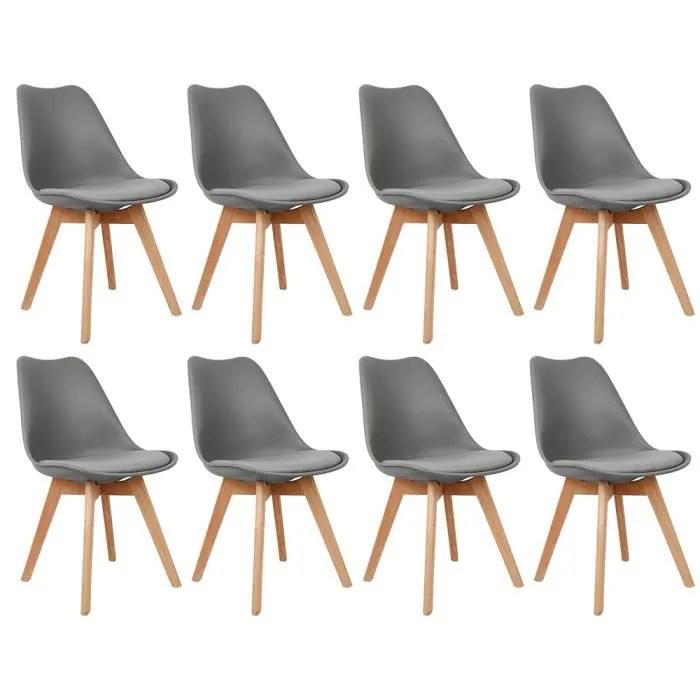 8pcs chaises scandinave hautes gris fonce pieds en