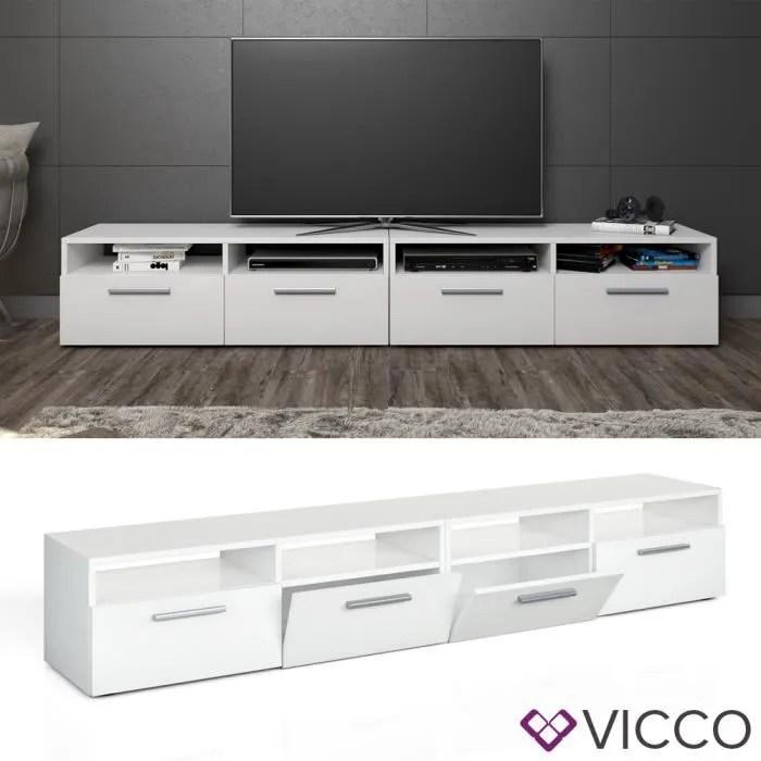 vicco meuble bas diego pour television blanc laque