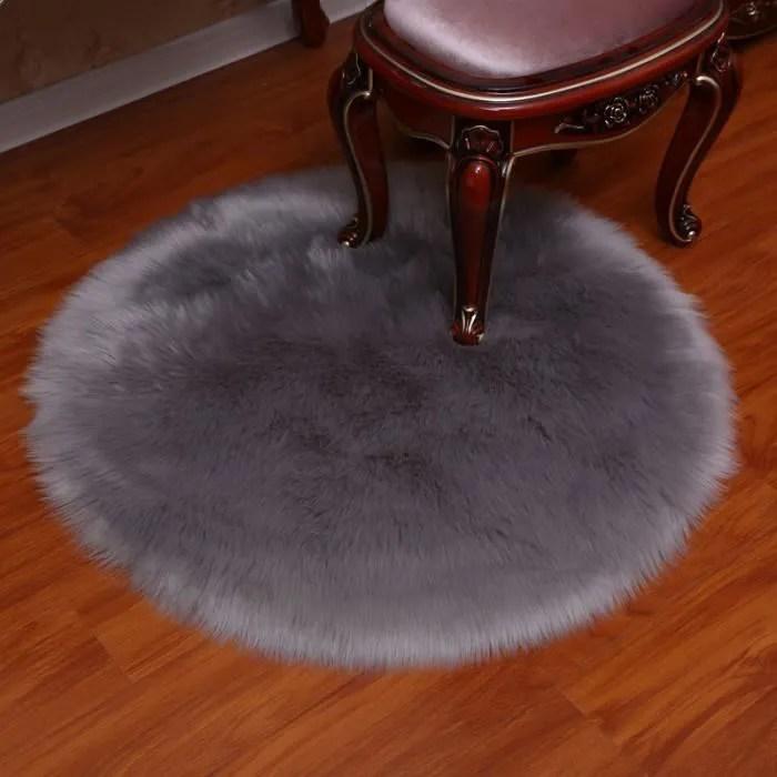 tapis rond pleuche gris 150 cm diametre fausse fou