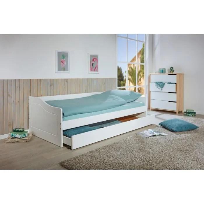 chambre lits rangements lit banquette avec un tiroir lit ou de rangement l 208 l 97 x h 62 cm blanc