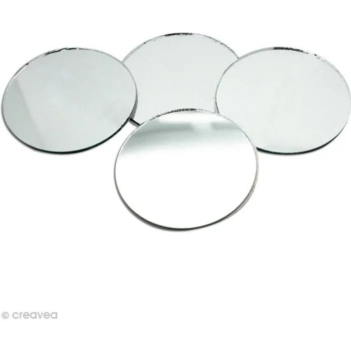 miroir rond 50 mm x4 miroir rond en verre decoupe