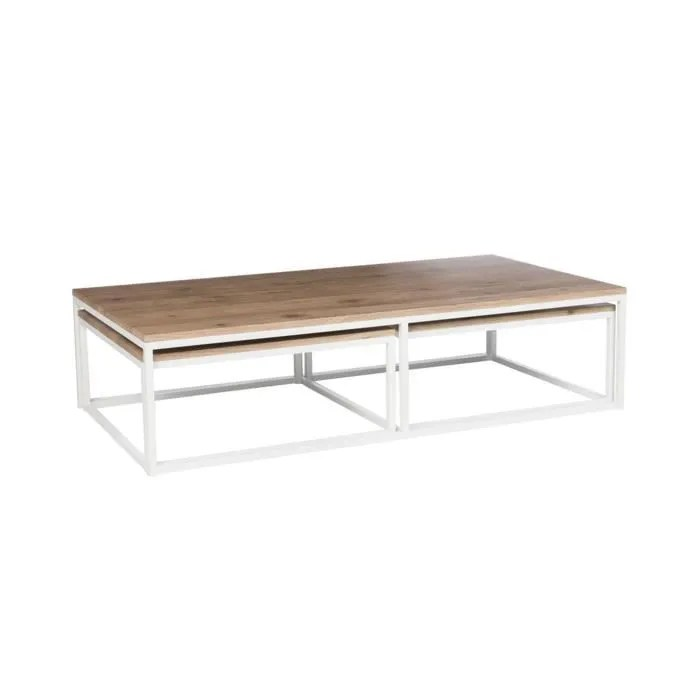 table basse rectangulaire en bois naturel et metal blanc