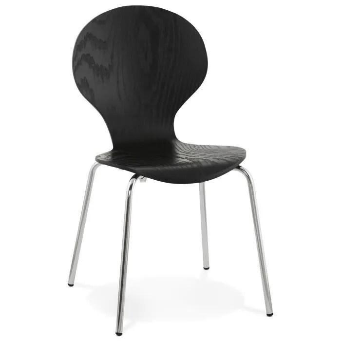 chaise empilable en bois coloris noir l47 x l52 x h85 cm