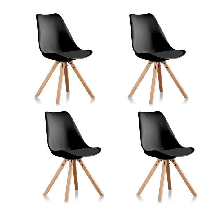 lot de 4 chaises scandinaves noires