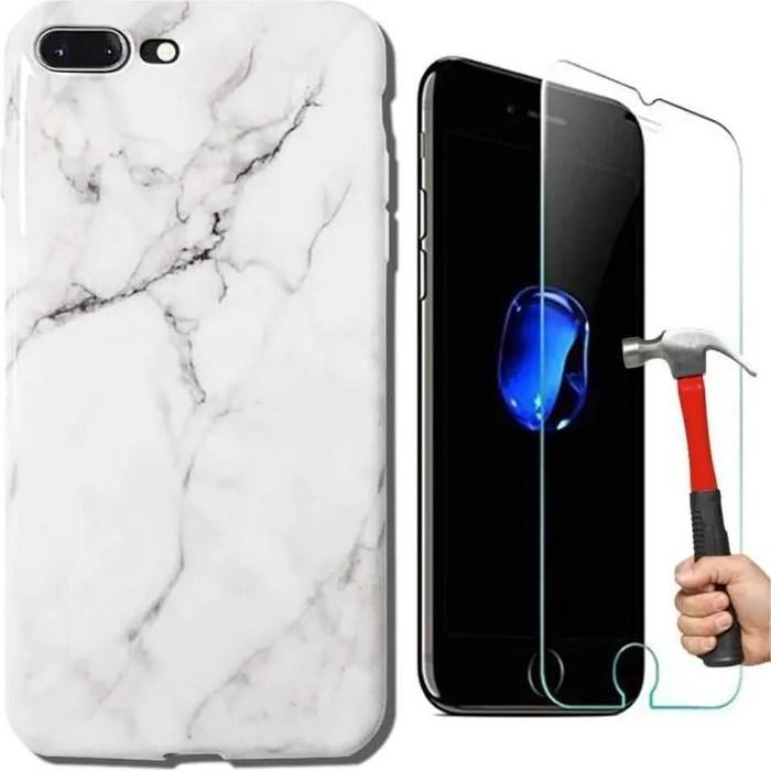 pack 2 coque iphone 7 plus iphone 8 plus marbre blanc vitre en verre trempe housse brillant etui tpu gel antichoc anti ram2460