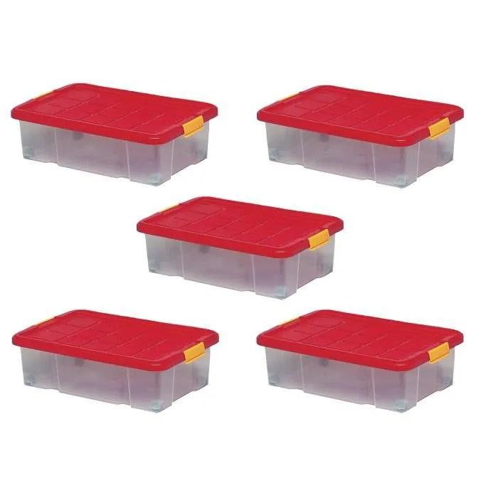 lot de 5 boites de rangement plastique