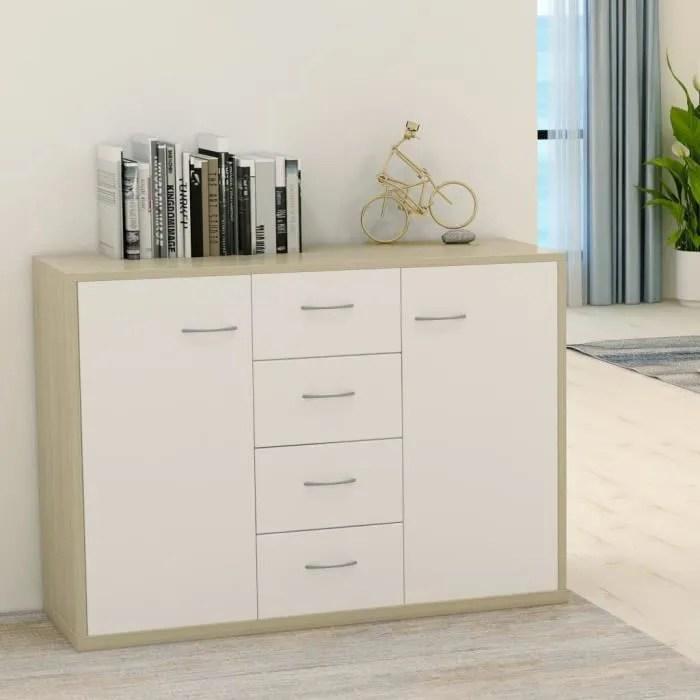 buffet bas style scandinave meuble de rangement blanc et chene sonoma 88x30x65 cm agglomere