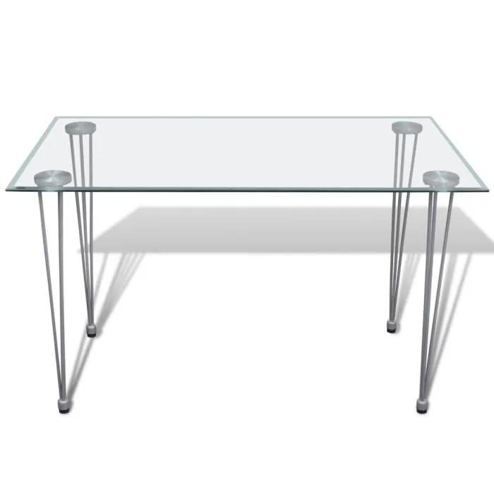 table a manger transparente avec plateau en verre trempe de salle a manger ou cuisine 120 x 70 x 75 cm