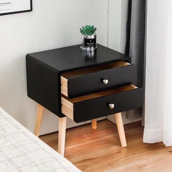 2pcs table de chevet scandinave avec 2 tiroirs de rangement table de nuit contemporain pieds en bois massi 42 x 32 x 50 cm noir