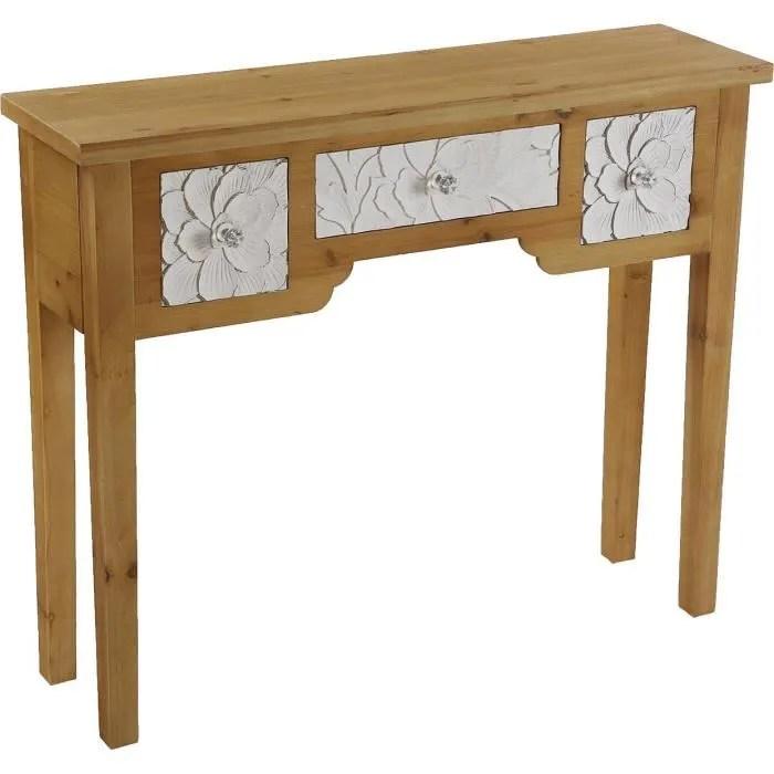 console d entree bois 3 tiroirs blanc motif fleur agnette