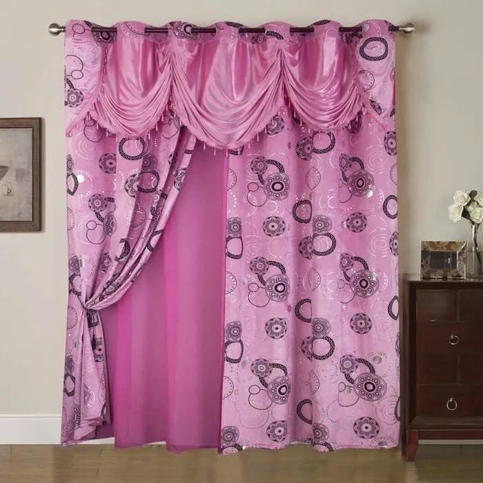 rideaux voilage a paillette rose