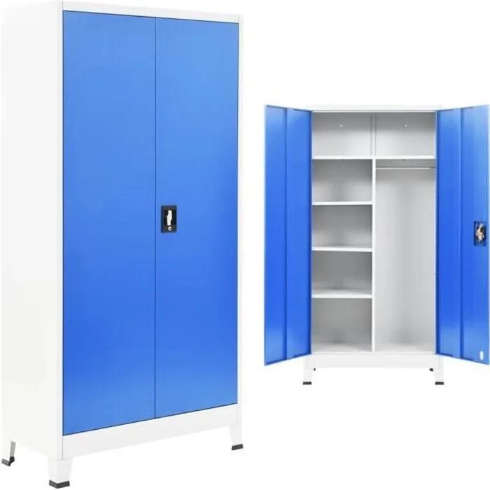 vidaxl armoire de vestiaire 2 portes metal 90x40x180 cm gris et bleu