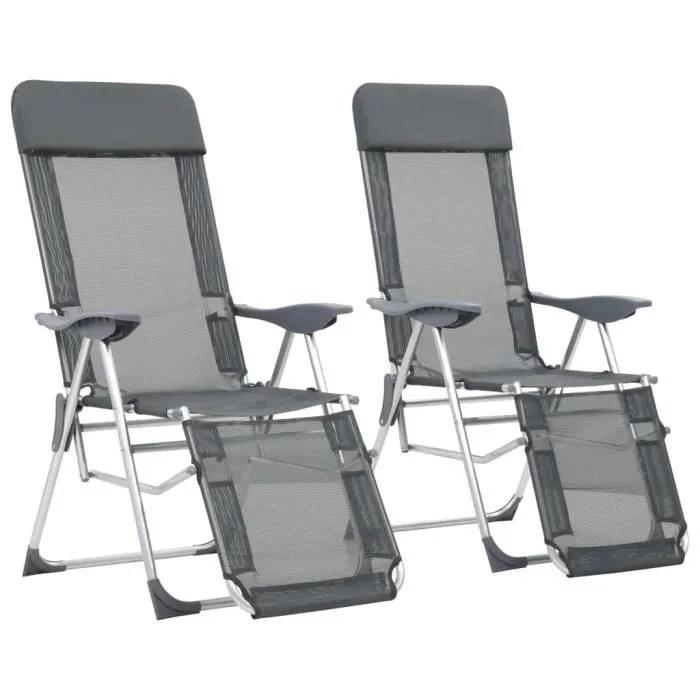 2 pcs chaises de camping pliable chaise pliante