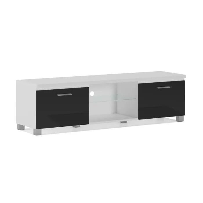 meuble bas tv led salon sejour blanc mate et noir laque dimensions 150 x 40 x 42 cm de profondeur