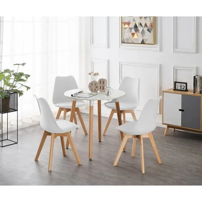 table blanche ronde 4 chaises scandinaves blanches ensemble pour salle a manger ou cuisine