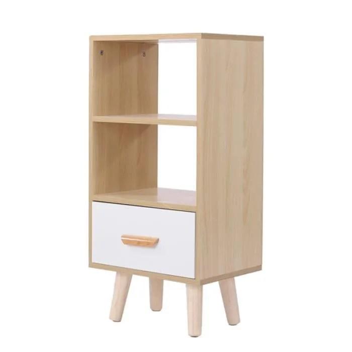bibliotheque style scandinave etagere de rangement meuble de salon blanc et hetre 40x30x82cm