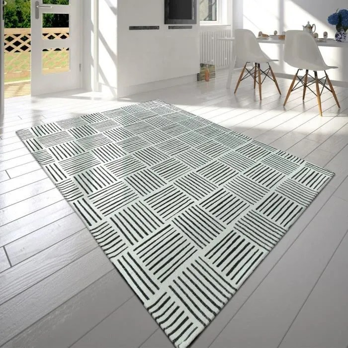 moderne poils ras salon tapis carreaux design lign