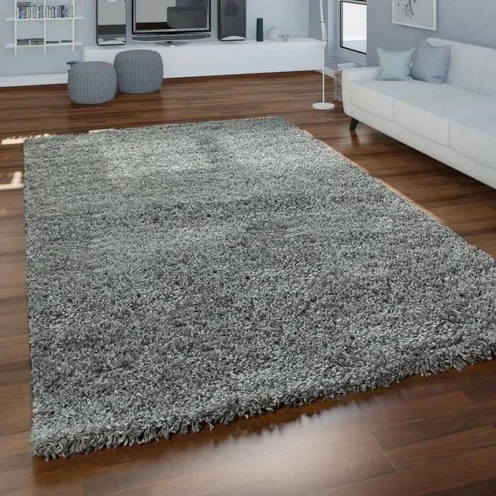 tapis poils longs shaggy pour salon doux moelleux resistant robuste 160x220 cm gris
