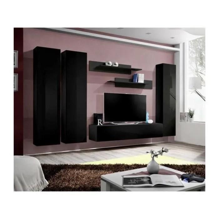 meuble tv fly design coloris noir brillant meubl