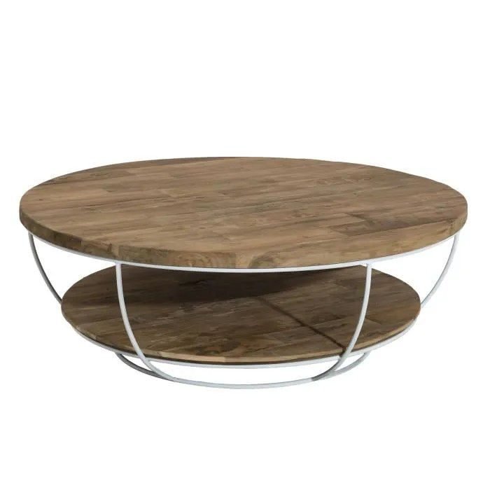 table basse ronde double plateau style industriel en bois teck pieds en metal et coque blanche o 100 cm