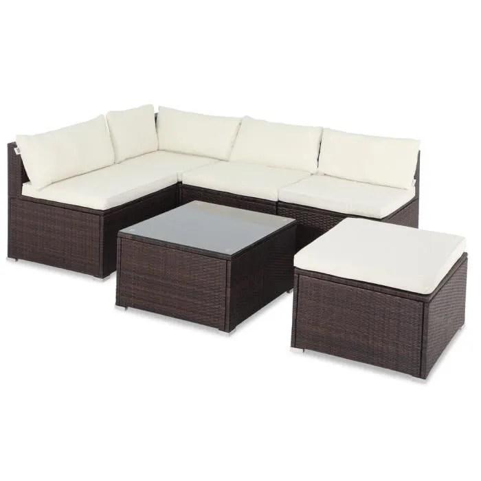 salon de jardin brun polyrotin 16 pieces lounge en