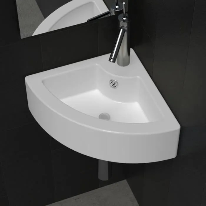 Mewmewcat Vasque A Poser Lave Main Angle Blanc Ceramique Trop Plein Salle Bain 45 X 32 X 12 5 Cm L X P X H Achat Vente Lavabo Vasque Mewmewcat Vasque A Poser Lave Cdiscount