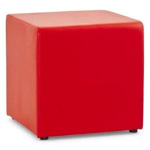 pouf cube de salon en pu rouge