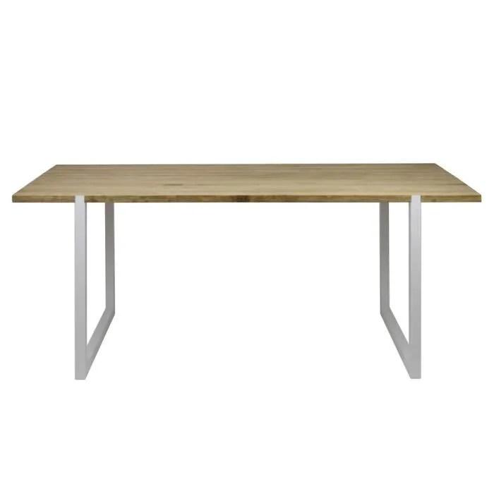 table salle a manger laque blanc et bois