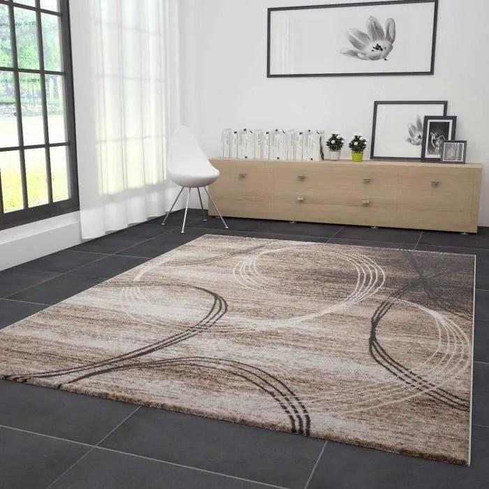 tapis salon tibet marron noir 120x170 cm