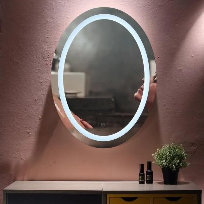 Miroir De Salle De Bains A Led Ovale Anti Buee Avec Interrupteur Tactile Mixmest Achat Vente Miroir Salle De Bain Soldes Sur Cdiscount Des Le 20 Janvier Cdiscount