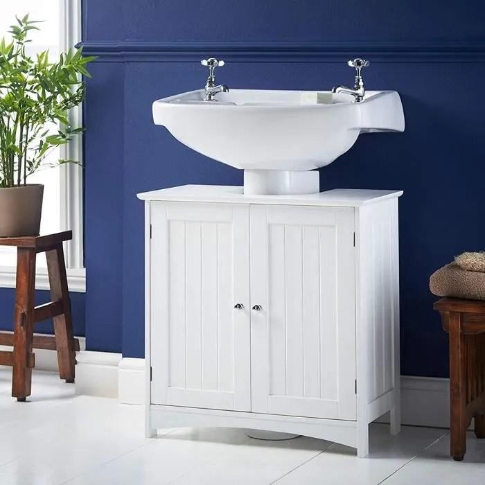 meuble sous lavabo de salle de bain meuble dessous de lavabo meuble de rangement sous vasque en bois blanc