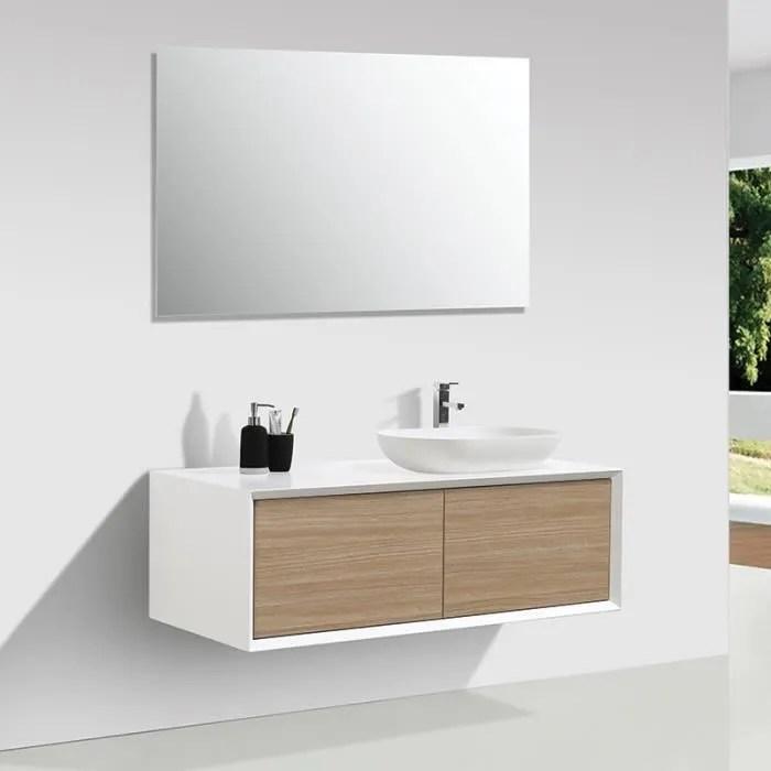 meuble salle de bain double vasque palio 120 cm blanc chene clair blanc
